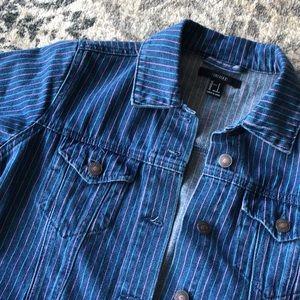 Forever 21 Striped Denim Jean Jacket